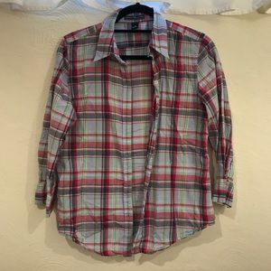 Plaid 3/4 Sleeve Button Up